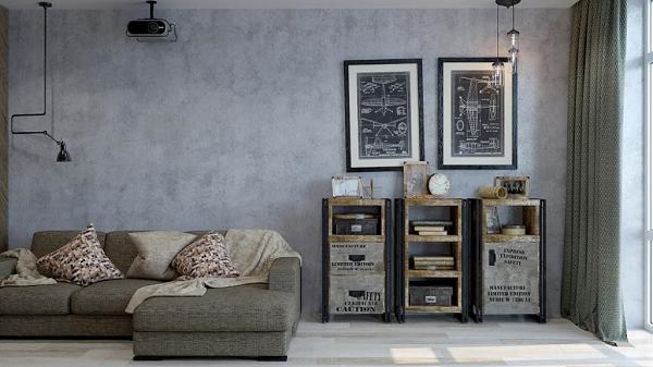 Ngoài sơn hiệu ứng giả bê tông với tông màu xám, sẽ khó để có thể tìm kiếm được màu sơn nào phù hợp hơn cho phòng khách tối giản này.