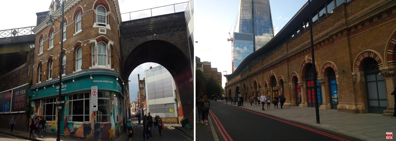 Vòm cầu cao bằng nhà hai tầng  trên phố và  dãy phố cửa hàng gầm cầu rộng trên đường phố London (Anh)