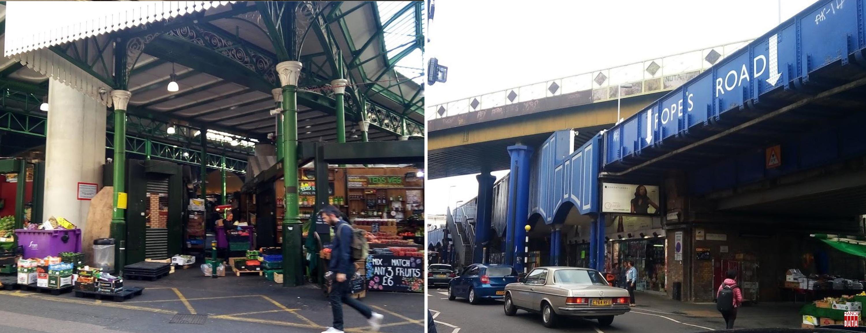 Thành phố London (Anh): khu chợ Borough Market nằm dưới các gầm cầu đường sắt trên cao và cả dãy phố cửa hàng đặt trong các vòm cầu