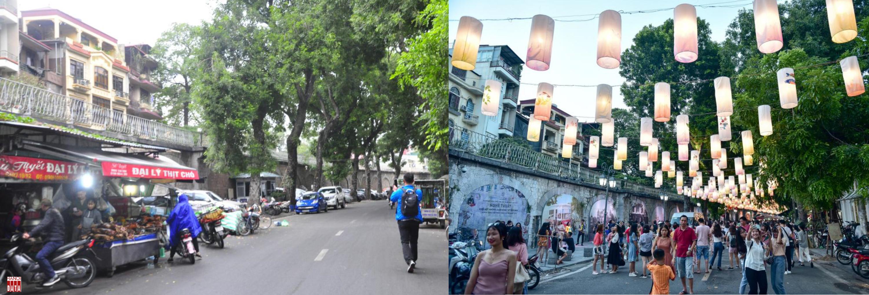 Bức tường đá trên phố Phùng Hưng trước và sau khi quận Hoàn Kiếm thực hiện dự án phố nghệ thuật đương đại