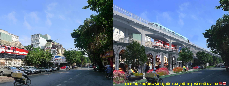 """Hiện trạng phố Phùng Hưng (ảnh trái); Đề xuất của CitySolution tại Workshop """"Tái thiết không gian đô thị chuyển đổi""""có bốn trường đại học tham gia (10/2017)"""