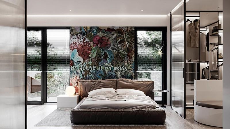 Sử dụng một bức tường hình hoa, đặt đầu giường tạo nên sự khác biệt cho căn phòng. Ánh sáng cũng là một trong những yếu tố mang lại sự độc đáo cho phòng ngủ.