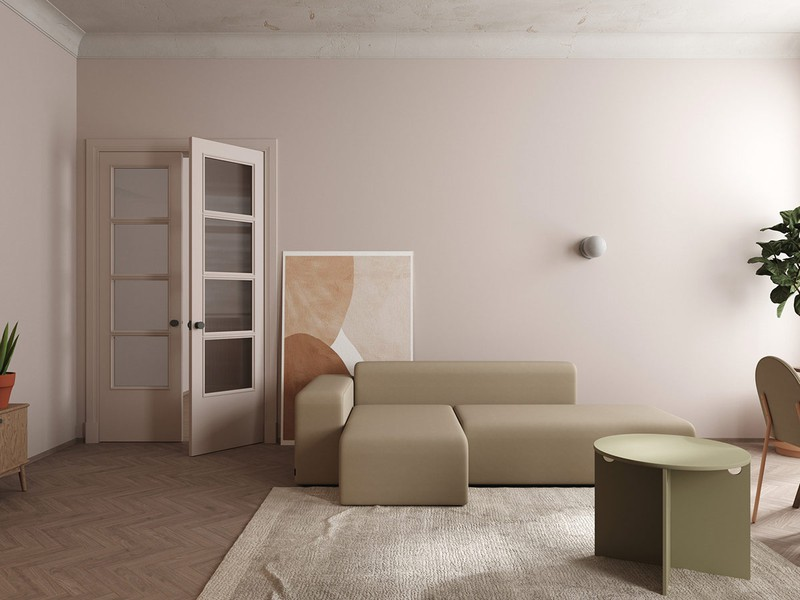Căn hộ rộng 65 m2 sử dụng hai gam màu chính là hồng và be yên bình, ấm áp