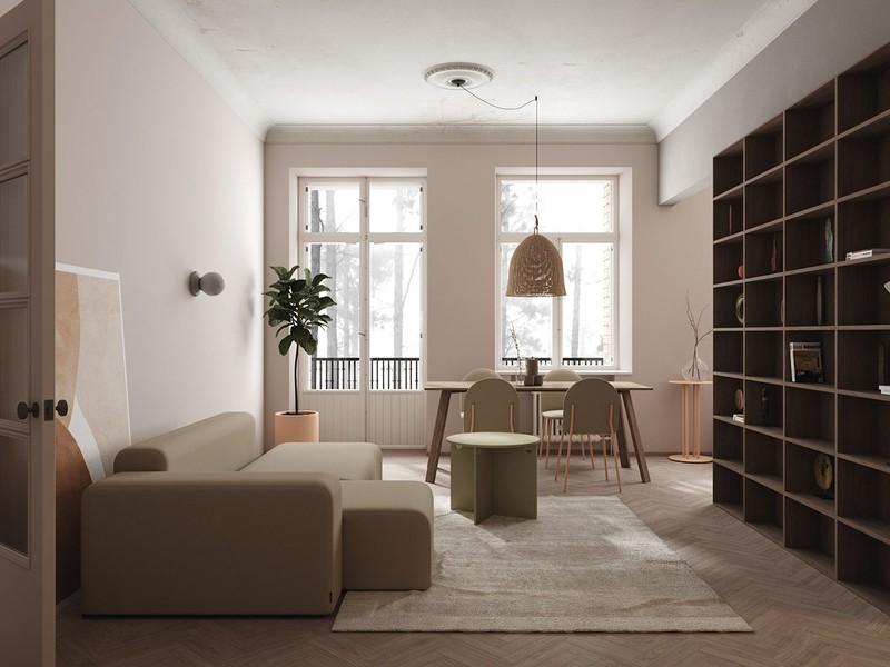 Là người thích đọc sách, gia chủ không quên đặt một giá sách lớn ngay trong phòng khách