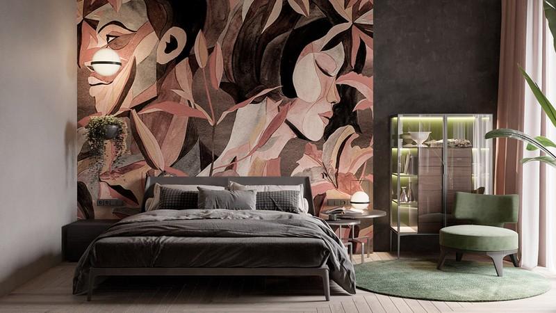 Một tác phẩm nghệ thuật tông màu trung tính thống trị căn phòng ngủ.