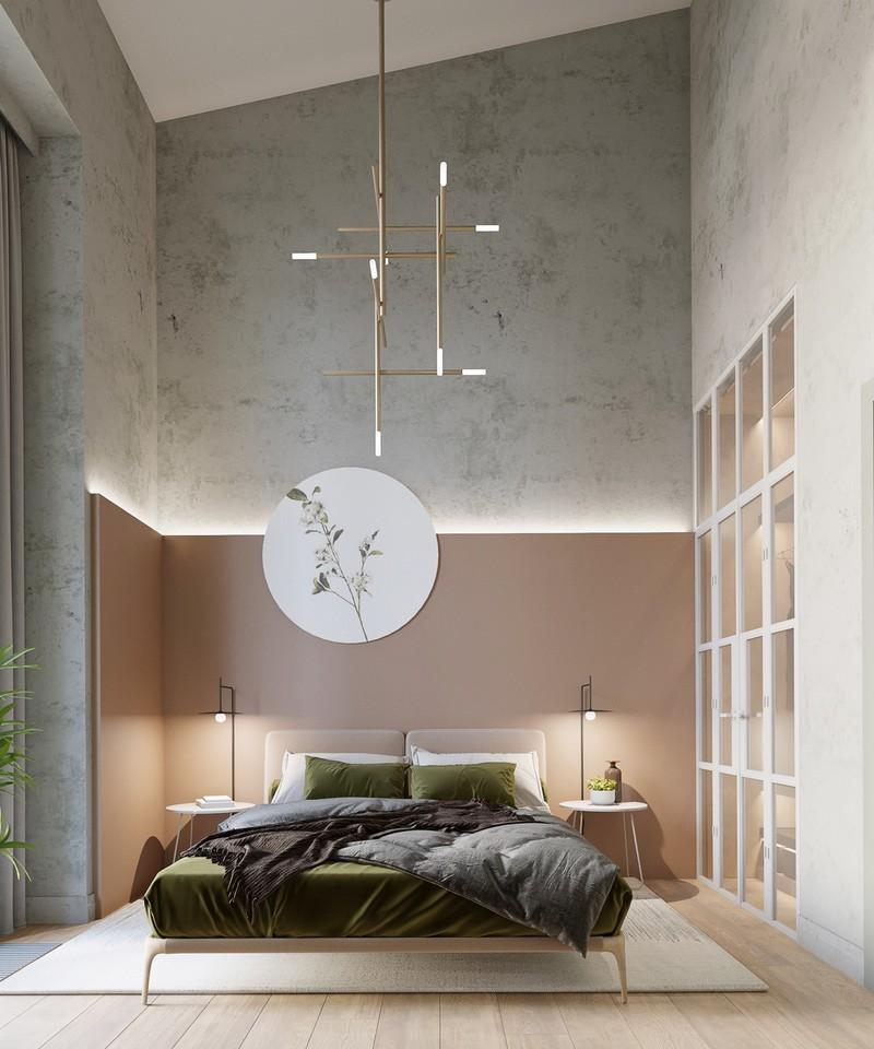 Đèn và các mảng tường giật cấp tạo nên phòng ngủ đầy nghệ thuật.
