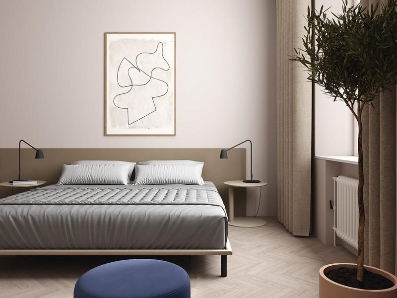 Trở về với phòng ngủ chính cũng là lúc trở về với các gam màu sắc đơn giản và thanh lịch