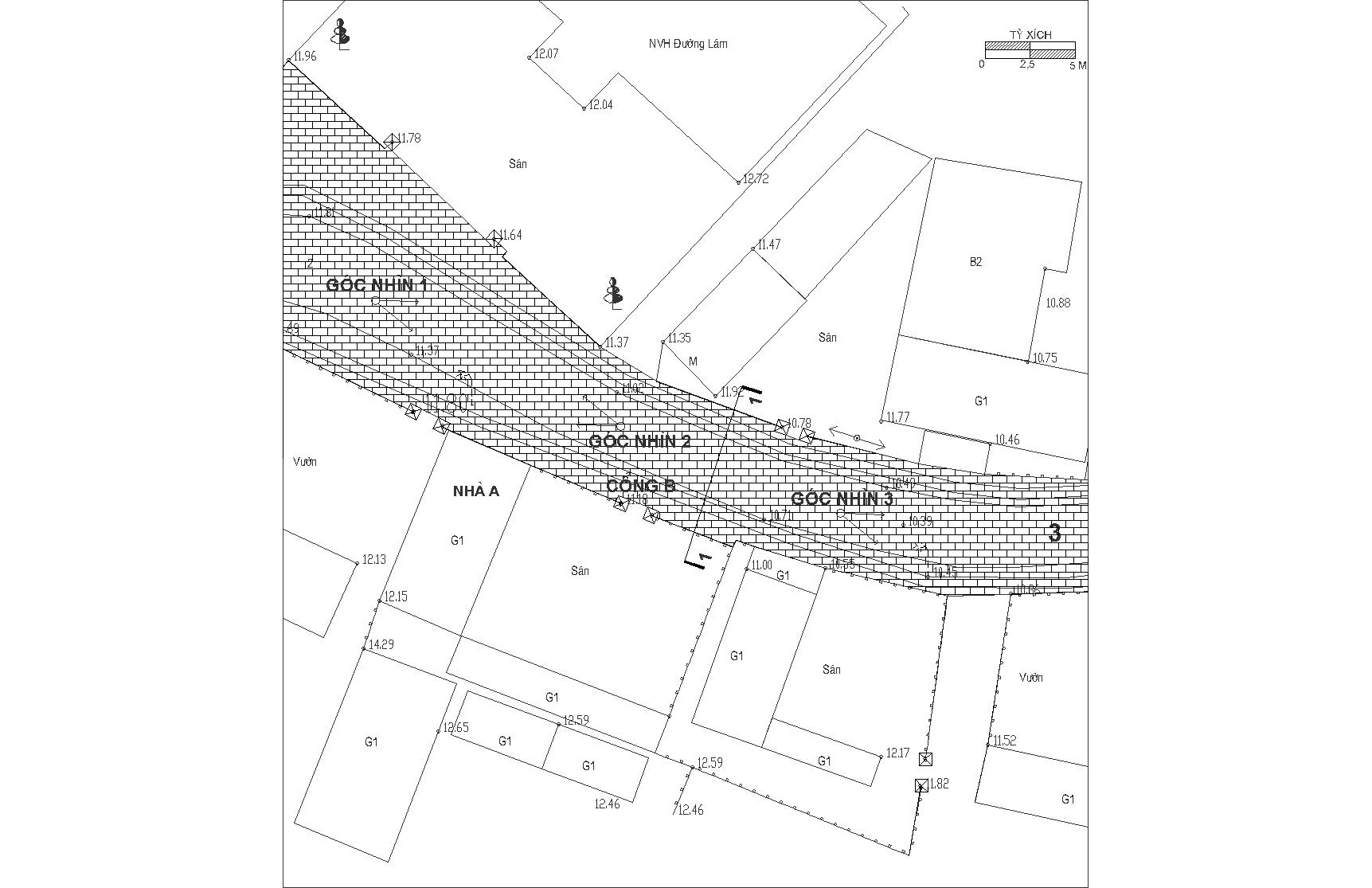 Ví dụ về cách tổ hợp kế thừa đặc trưng hình thái không gian đường làng, ngõ xóm