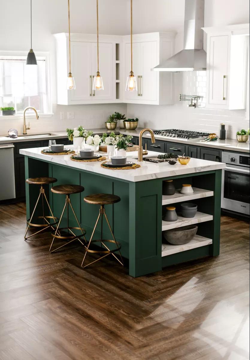 Đảo bếp màu xanh tạo điểm nhấn ấn tượng cho không gian