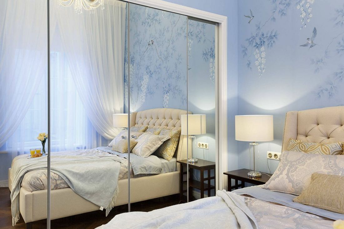 Chiếc gương giúp nhân đôi, mở rộng diện tích cho phòng ngủ nhỏ