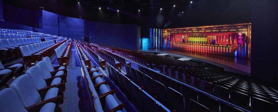 Khu vực khán phòng hiện đại với màu sắc trung tính