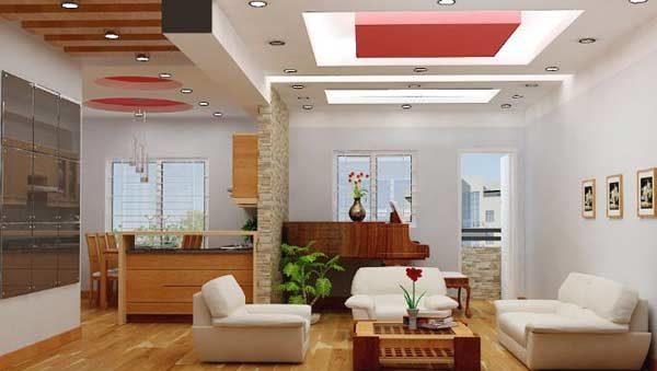 Mẫu trần thạch cao phòng khách liền bếp đơn giản mang đến sự hiện đại, thông thoáng cho không gian.