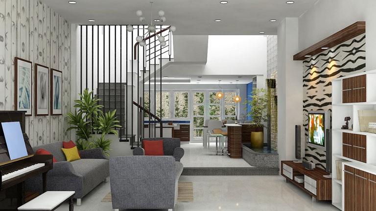 Nhà ống với mẫu trần thạch cao phòng khách liền bếp tạo sự kết hợp hài hòa với màu sắc đồ nội thất, cho không gian tinh tế, hiện đại