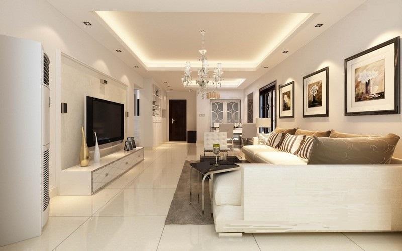 Để tạo nên sự định hình của không gian với tạo hình trần thạch cao phẳng cho thiết kế trần thạch cao phòng khách liền bếp chung cư bạn có thể chọn cách đánh dấu bằng hệ thống ánh sáng như bố trí hệ thống đèn LED khác nhau, sử dụng đèn chùm hay sử dụng phào chỉ riêng biệt,…