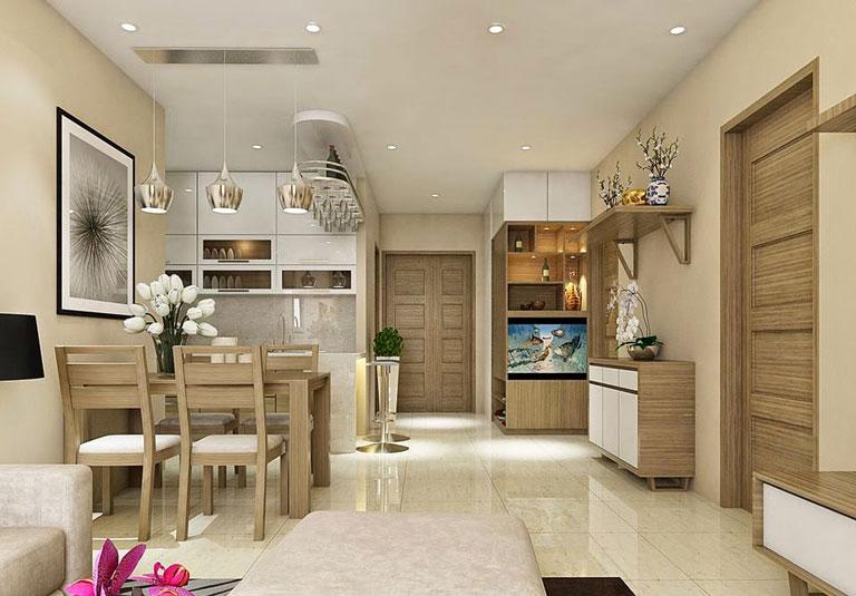 Mẫu trần thạch cao phòng khách liền bếp cho căn hộ chung cư có diện tích hạn chế