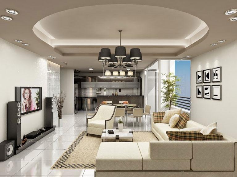Bạn cũng có thể kết hợp trần thạch cao phẳng và giật cấp khi thiết kế trần thạch cao phòng khách liền bếp. Khi đó, để làm nổi bật được đặc điểm chức năng của từng phòng, bạn nên sử dụng trần thạch cao giật cấp cho không gian phòng khách và trần thạch cao phẳng ở phòng bếp.