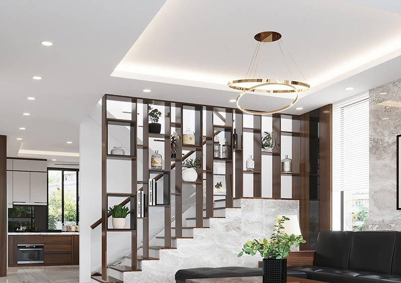 Mẫu thiết kế vách ngăn cầu thang và cách trang trí giúp tránh sự nhàm chán trong thiết kế.