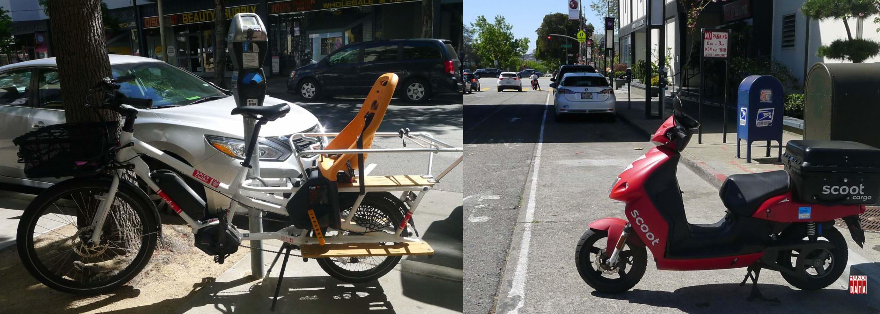 Tại  San Francisco (Mỹ): Bên cạnh cột thu phí đỗ xe tự động, một chiếc xe đạp trợ lực điện chở hàng và trẻ em được đỗ miễn phí trên vỉa hè. Bãi đỗ xe tự động hoàn toàn, không một bóng người quản lý. Chỉ vài dòng thông báo: ô tô và xe máy không dám đỗ vào giờ các xe vệ sinh  hoạt động.