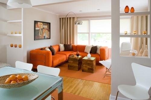 Màu cam khuấy động sự hứng khởi, nhiệt tình và tràn đầy năng lượng. Một bức tường màu cam sẽ kích thích sự suy nghĩ, sáng tạo và những ý tưởng mới. Màu này còn giúp các bà mẹ đang cho con bú có nhiều sữa, trị các bệnh lý liên quan đến hô hấp như: khó thở, thở không đều. Màu cam còn kích thích sự ngon miệng và giảm mệt mỏi. Tuy nhiên, nếu bạn đang ăn kiêng thì tránh trang trí phòng ăn nhiều màu cam.