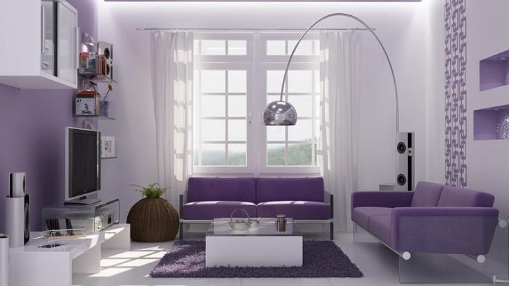 Màu tím thể hiện sự giàu có, mạnh mẽ và tinh tế. Căn nhà được sơn màu tím sẽ có không gian, chiều sâu và sự sang trọng. Sắc tím nhạt của hoa oải hương, tử đinh hương, là lựa chọn tuyệt vời cho phòng ngủ mà không gây cảm giác lạnh lẽo, trống trải.
