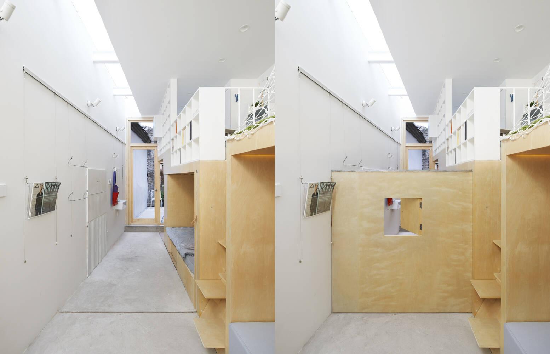 Vách ngăn có thể đóng mở để tạo sự riêng tư cho mỗi khu vực sử dụng
