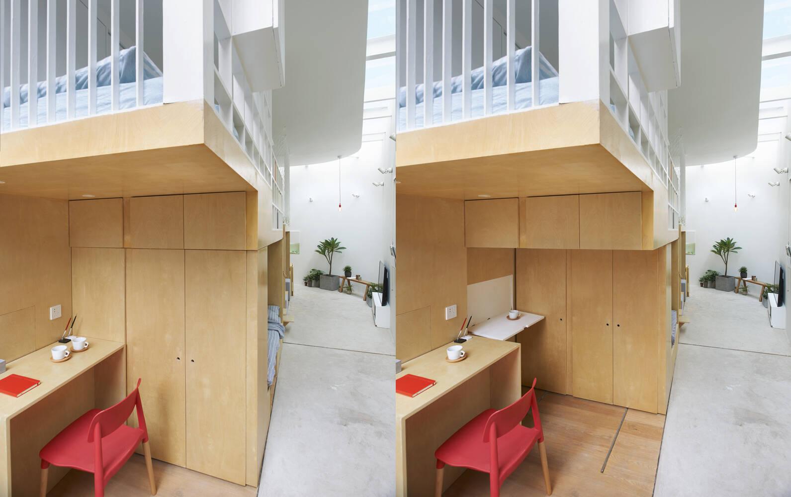 Chiếc tủ có thể thay đổi vị trí để mở ra một không gian khác