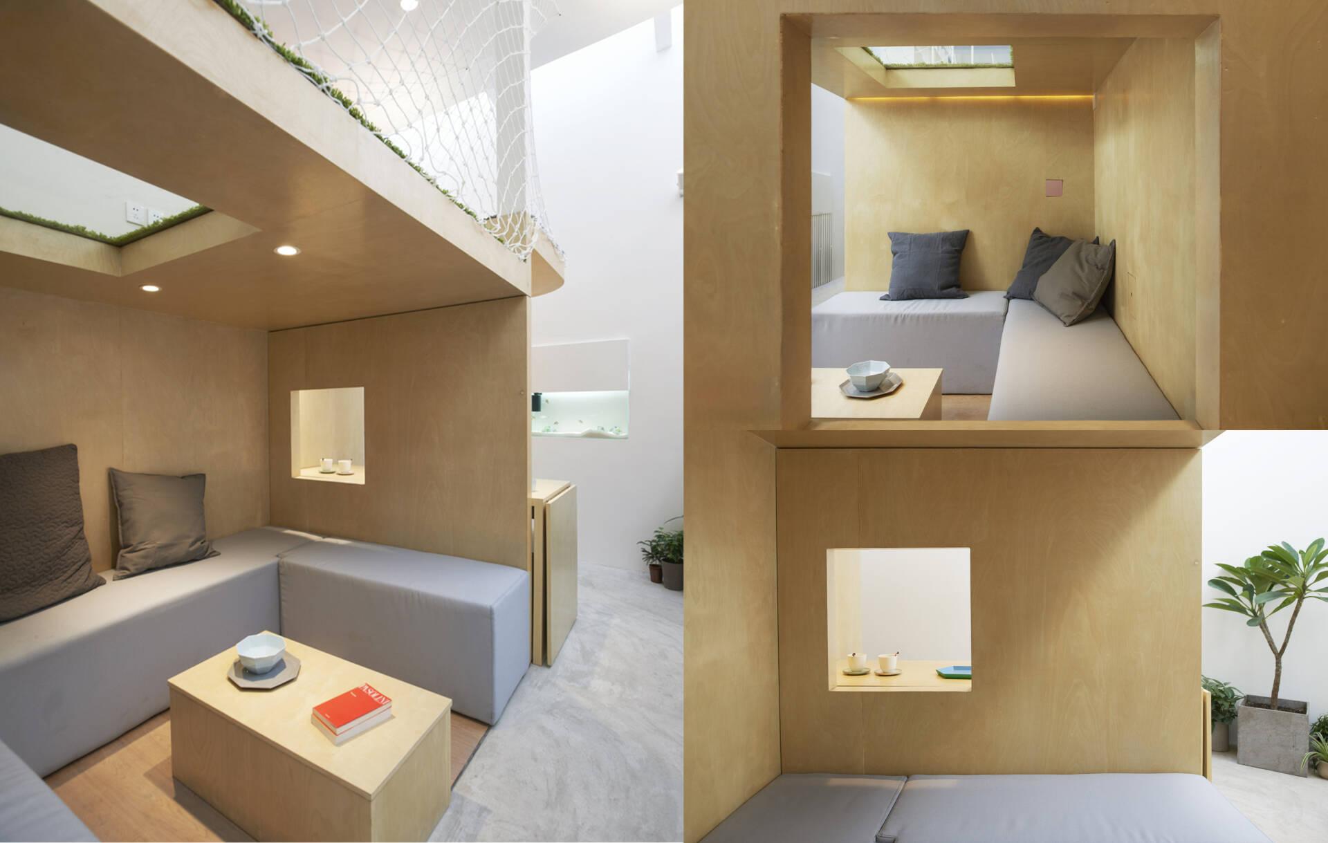 Kiến trúc hộp gỗ đóng vai trò như những khu vực chức năng riêng