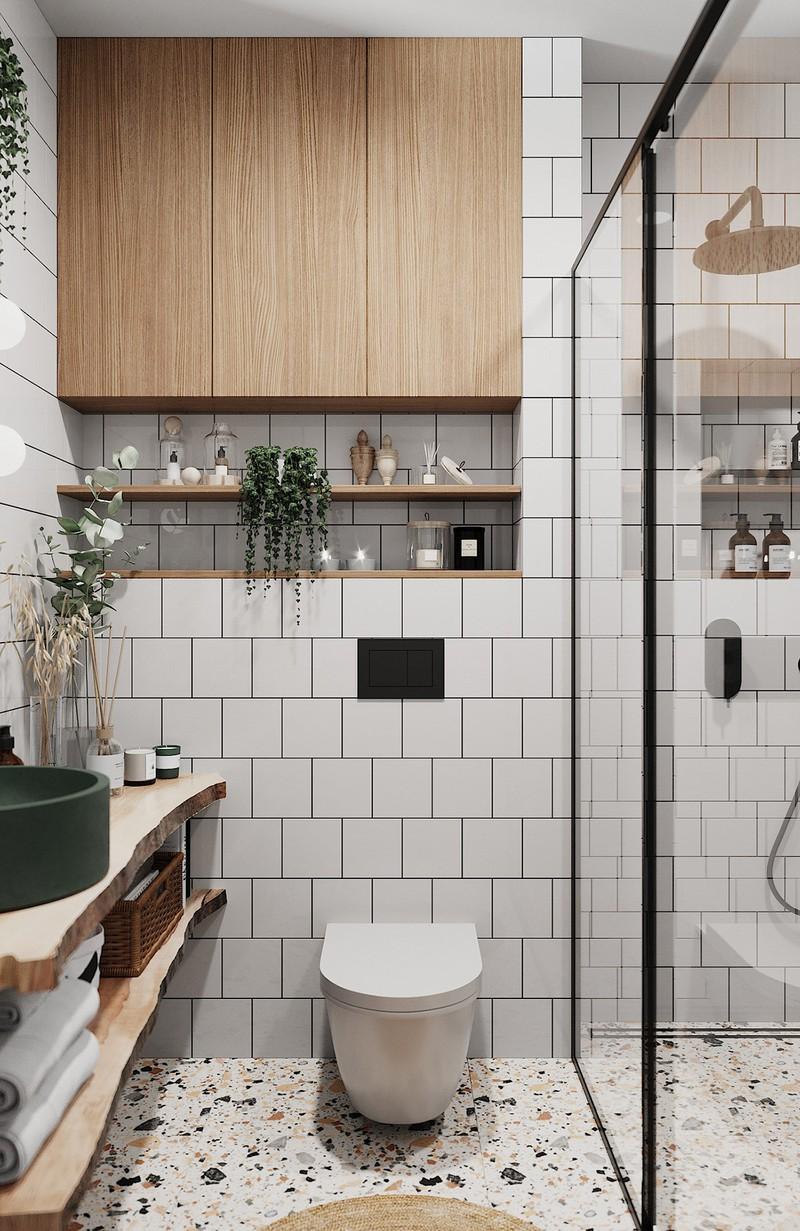 Phòng tắm chứa đầy những vật dụng làm thủ công độc đáo