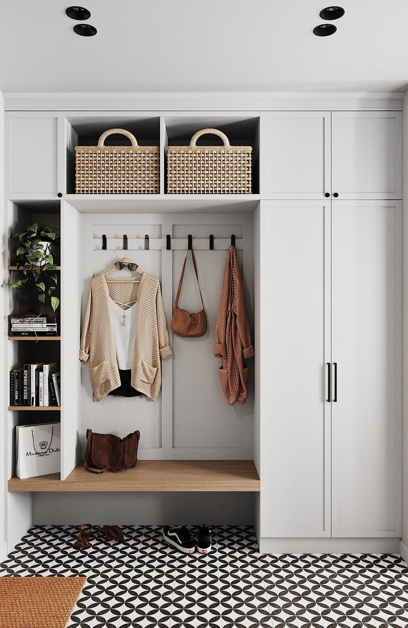 Tủ lưu trữ và giá đỡ gắn liền với tường, nhằm tiết kiệm diện tích