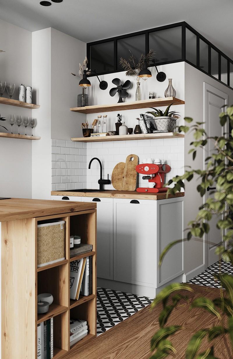 Kệ bếp mở giúp sắp xếp vật dụng một cách gọn gàng
