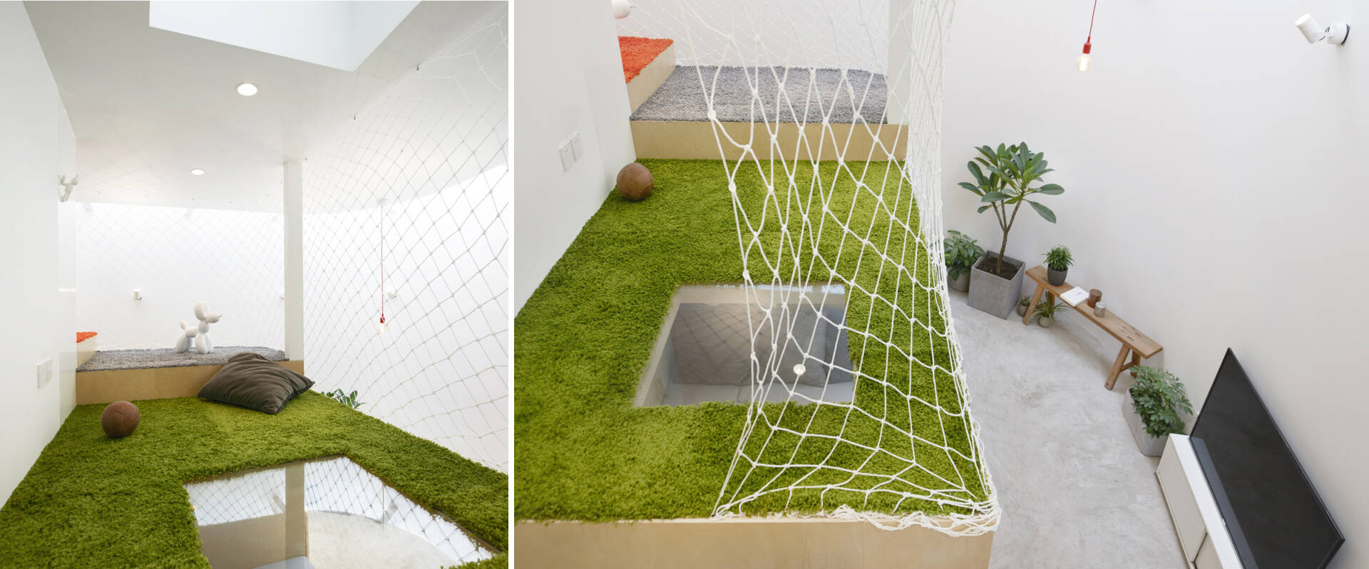 Khu vui chơi trên tầng lửng được trải thảm và bảo vệ bằng lưới an toàn, tạo cảm giác như một sân bóng thu nhỏ