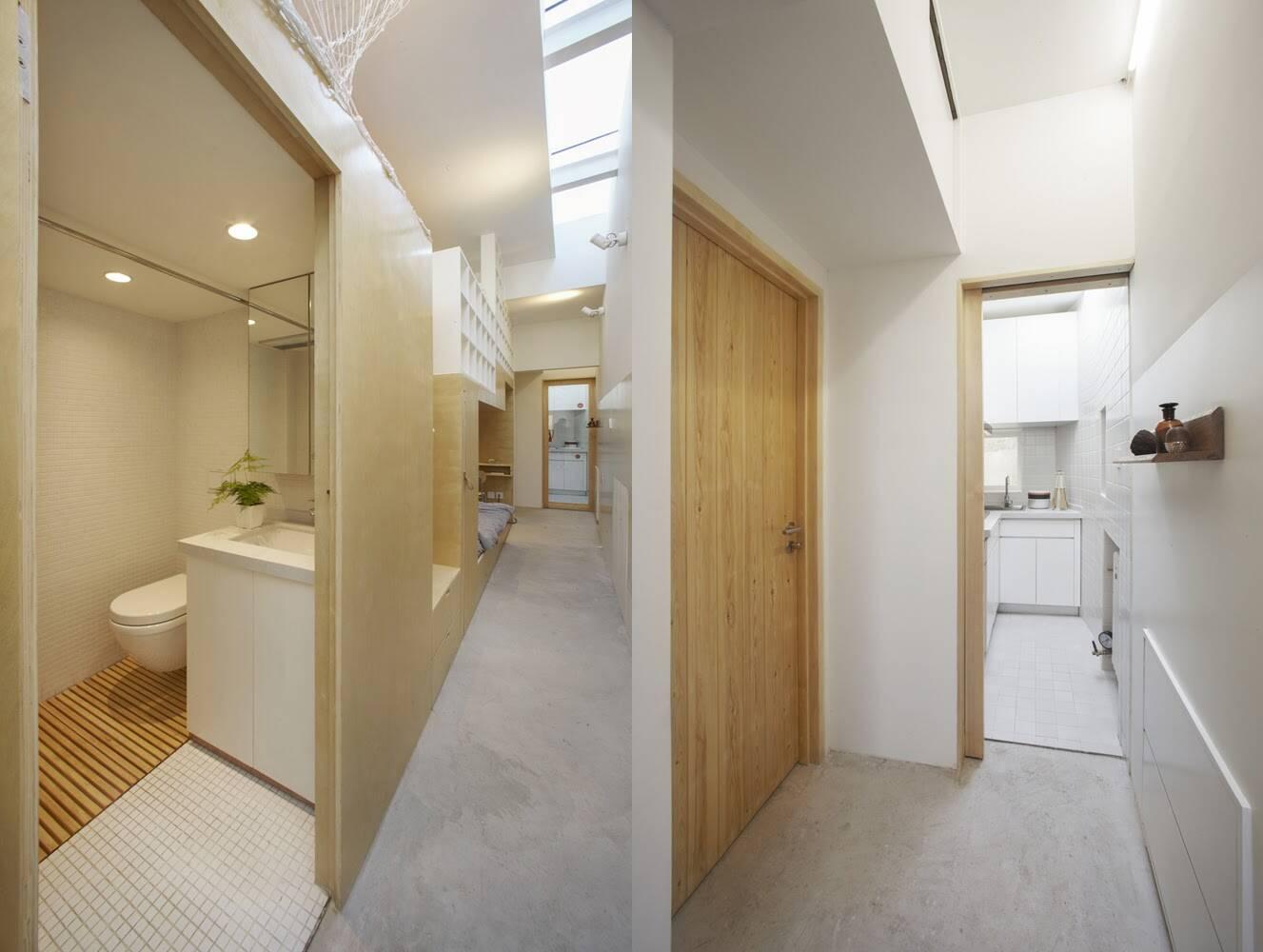 Bếp và phòng vệ sinh nhỏ nhưng vẫn đảm bảo sự tiện nghi