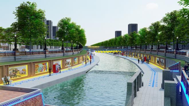 Cảnh quan người dân dạo mát hai bên bờ sông Tô Lịch tương lai