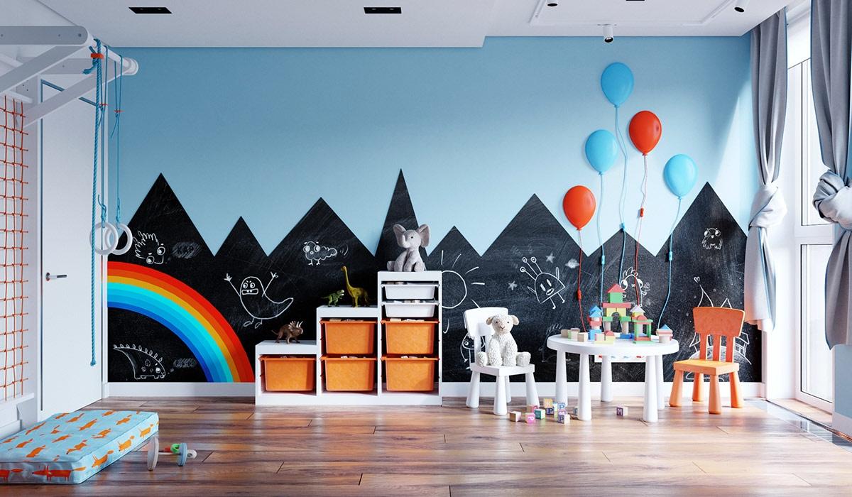 Các gam màu cam xen kẽ trong khu vực vui chơi, cung cấp thêm năng lượng cho căn phòng