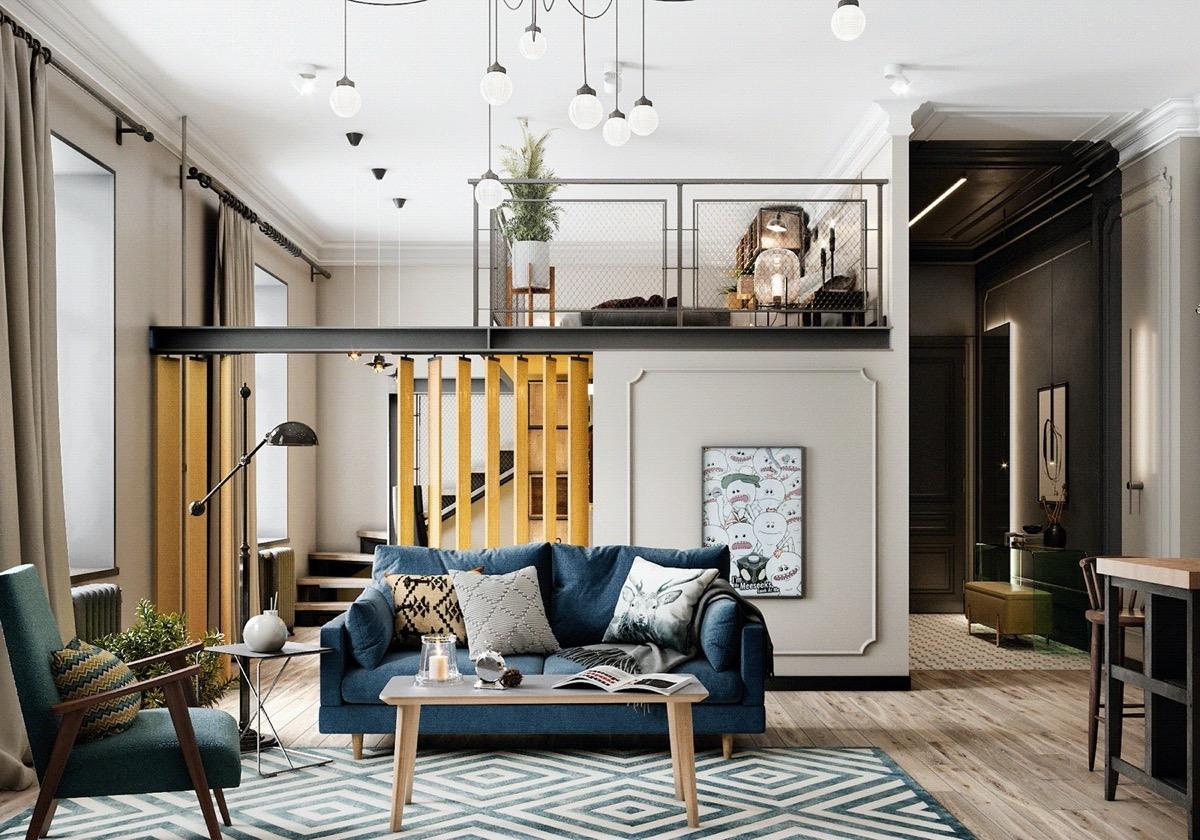 """Chủ nhân căn hộ là một người đam mê du lịch, """"đi nhiều biết nhiều"""" nên phong cách trang trí căn hộ cũng có sự khác biệt hơn những ngôi nhà khác. Gác lửng sử dụng làm phòng ngủ, giúp giảm áp lực cho không gian bên dưới."""