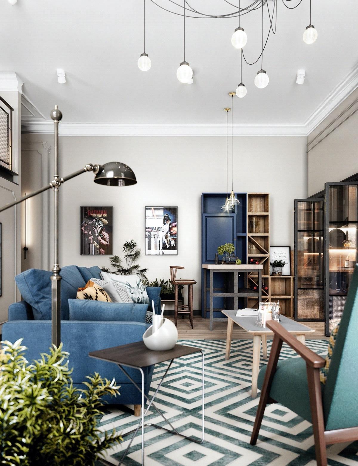 Đèn bàn phong cách công nghiệp, đặt xen giữa một chiếc ghế sofa hiện đại màu xanh dương