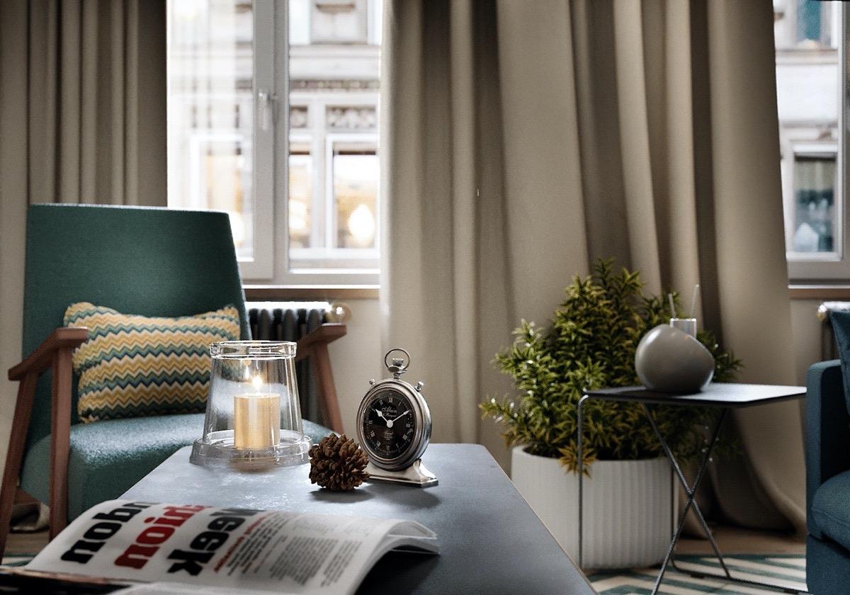 Tận dụng nguồn sáng tự nhiên từ trên cao cũng là cách khiến căn hộ 70m2 trở nên rộng rãi và thoáng đãng hơn