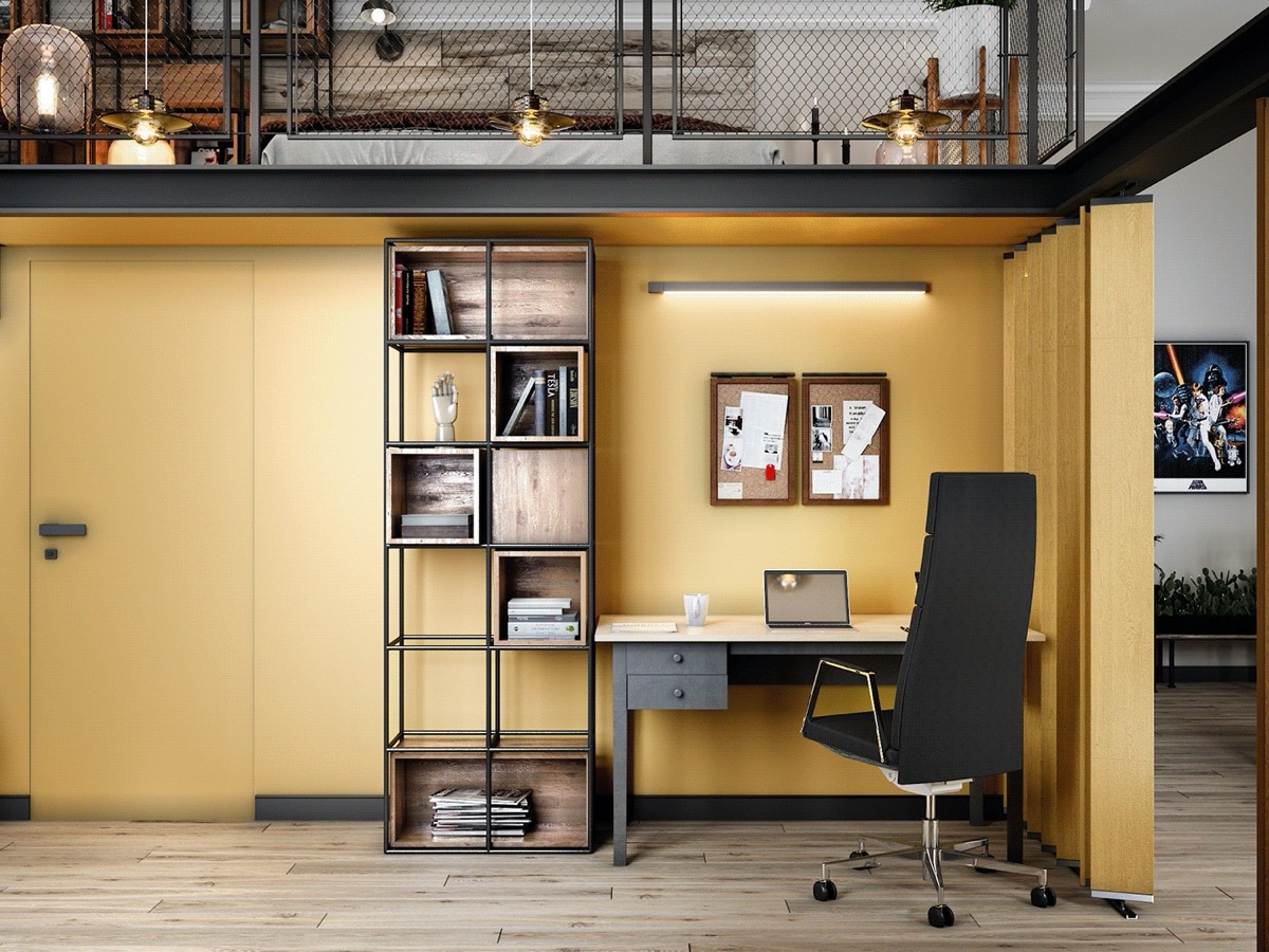 Bức tường màu vàng nắng, mang đến nguồn năng lượng ấm áp và sinh động cho không gian làm việc tại nhà