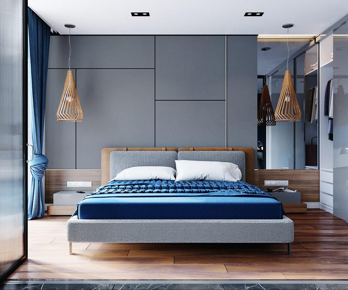 Đèn, sàn gỗ góp phần làm ấm khu vực ngủ nghỉ