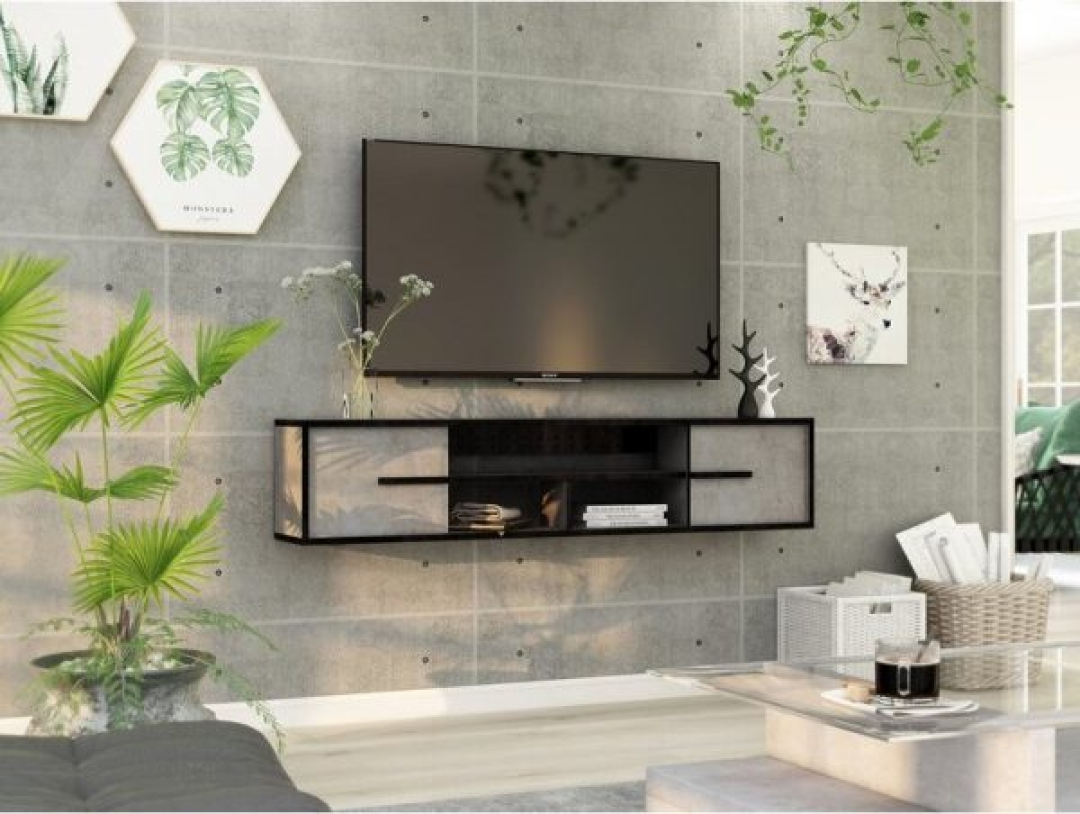 Đường viền màu đen đi cùng khung màu trắng, tạo sự đồng bộ giữa giá và chiếc tivi