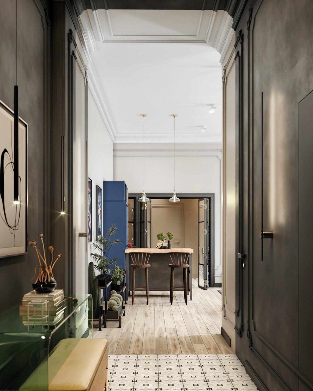 Trong khi đó, khu vực hành lang sử dụng tường gỗ màu đen tăng thêm chiều sâu cho căn phòng