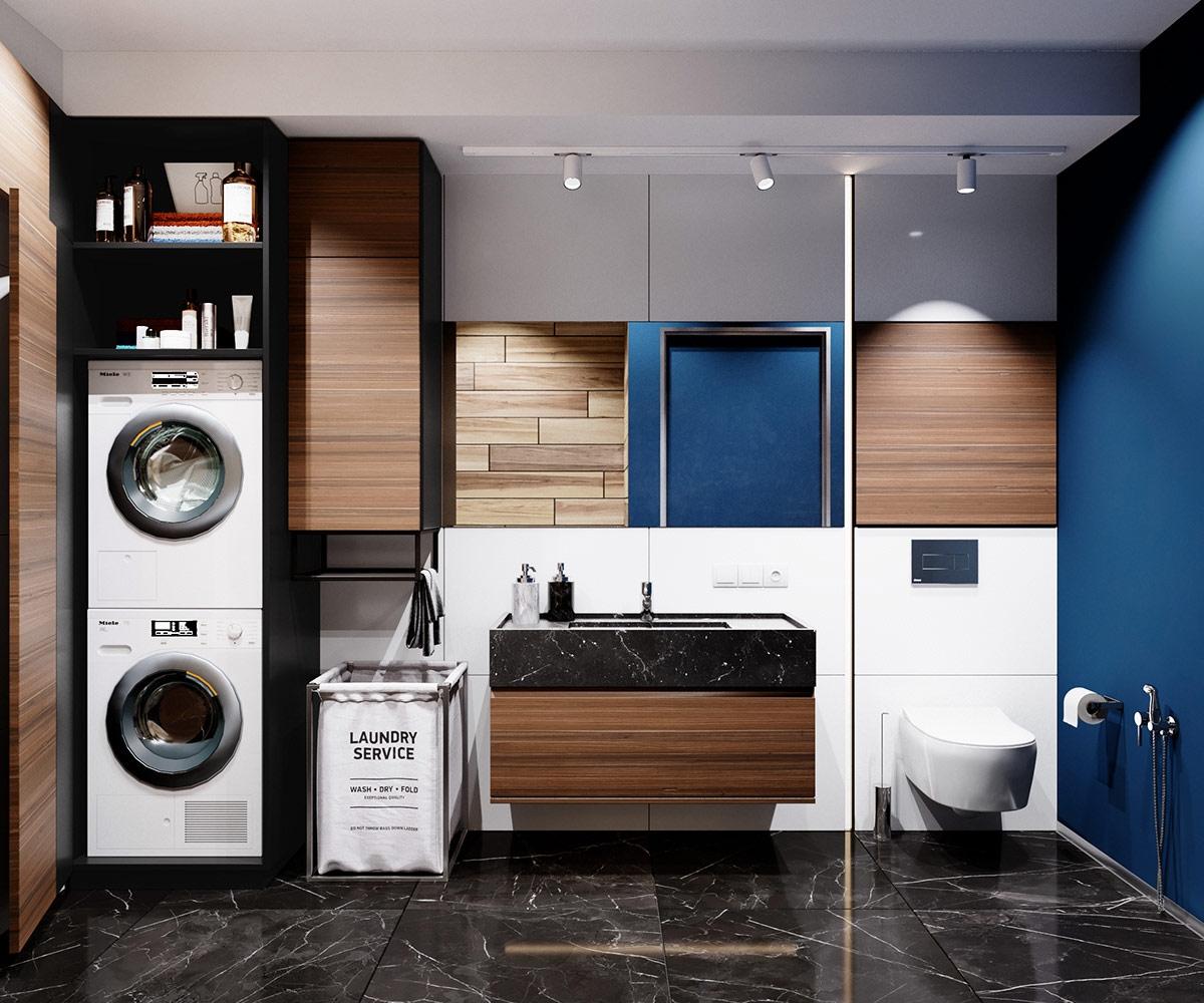 Phòng tắm kết hợp với phòng giặt tiện nghi