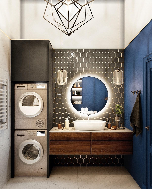 Sự tương phản giữa các gam màu sáng và tối tạo nên một căn phòng tắm đẹp mắt