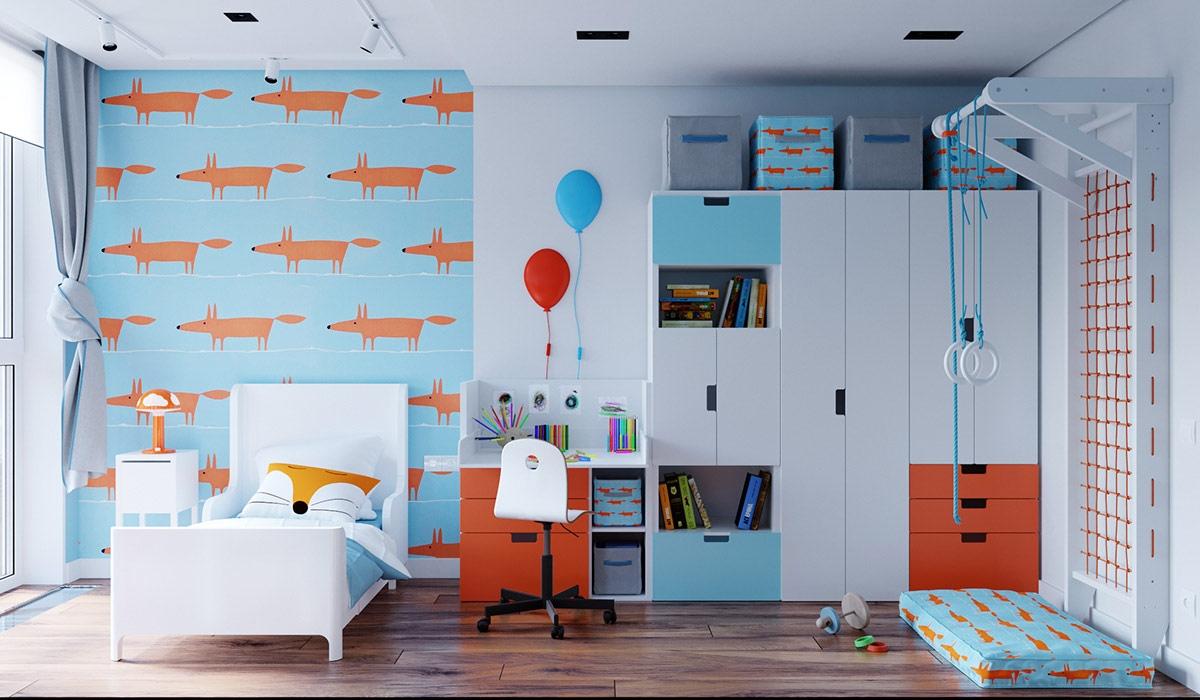 Cũng là gam màu xanh dương quen thuộc nhưng trong phòng trẻ em, gam màu này được tôn lên sáng và trẻ trung hơn
