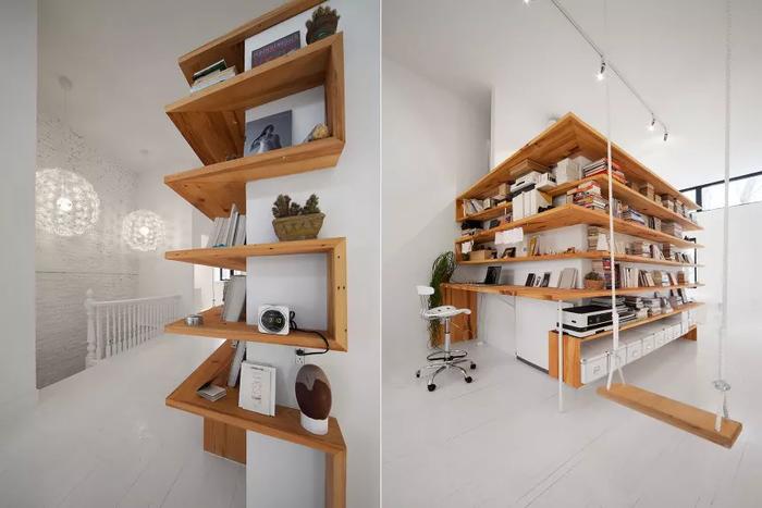 Bạn hoàn toàn có thể đã tạo ra bàn làm việc và không gian lưu trữ đồ cần thiết bằng cách thêm giá đỡ nổi bao quanh các góc nhà