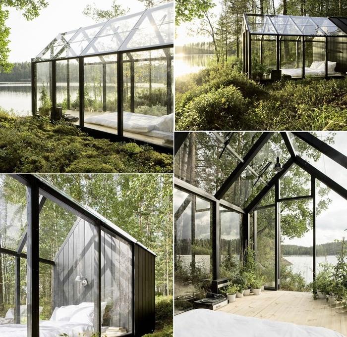 Một phòng ngủ được bao bọc bằng kính giống như những chiếc nhà kính chắc chắn là một ý tưởng thú vị. Tất nhiên, bạn sẽ cảm thấy hơi lộ liễu nhưng mọi vấn đề sẽ được giải quyết nếu bạn xây nhà kính này trong khu vườn của riêng mình.