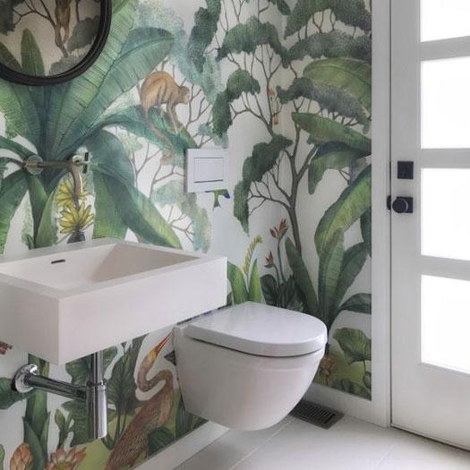 Giấy dán tường là sự lựa chọn tối ưu cho những không gian tắm bị hạn chế về mặt diện tích