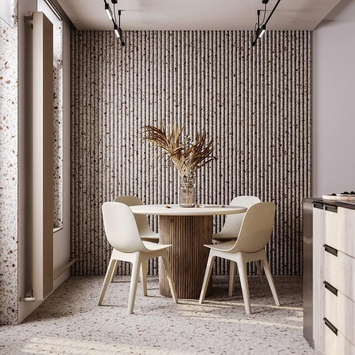 Mẫu bàn ăn tròn tiết kiệm diện tích, lại tạo nên vẻ ngoài hài hòa, sang trọng cho không gian