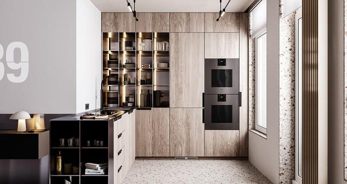 Nhà bếp hình chữ L là mang vẻ đẹp hiện đại với tủ vân gỗ tuyệt đẹp và những mảng màu tối đối lập, nổi bật