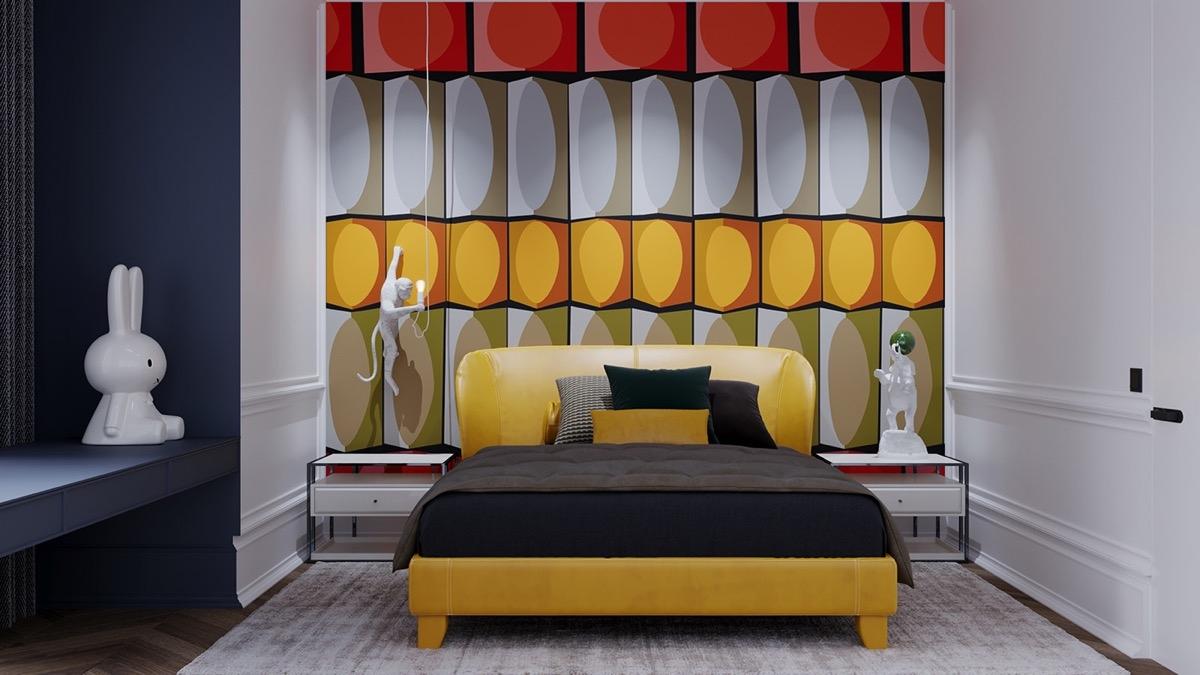 Bức tường đầy màu sắc này tạo thêm chiều sâu và kích thước cho căn phòng